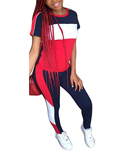 Women's 2 Piece Outfits - Color Block Stripe Short Sleeve Round Neck Top Skinny Long Pants Tracksuit Set Navy Blue Large