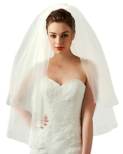Ayliss Women Two Tiers Wedding Veil Short Cascade Bridal Veil with Metal Wire Comb (Ivory)