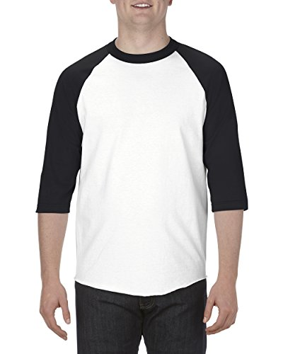 Mens 100% Cotton Jersey (Alstyle Apparel AAA Unisex Classic Raglan 3/4 Sleeve Baseball T-Shirt, White/Black, Large)