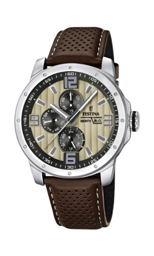 Festina Chrono Bike 2012 Men's Quartz Watch with Beige Dial Analogue Display and Brown Leather Strap F16585/6