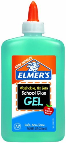 Elmer's Washable No-Run School Glue Gel, 7.625 oz Bottle, Blue (E363)