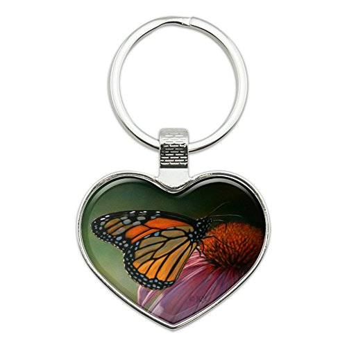 Monarch Butterfly and Coneflower Heart Love Metal Keychain Key Chain Ring