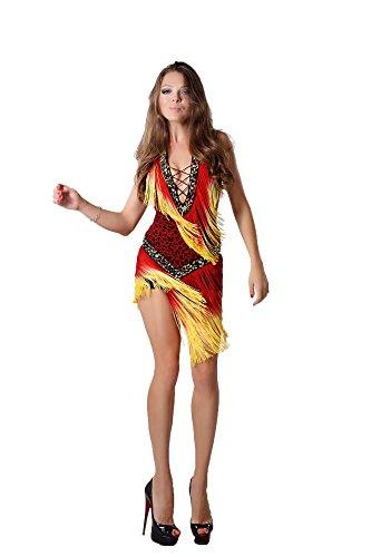 Women's Sexy Leopard Print Samba Latin Salsa Dress Costume (Red)