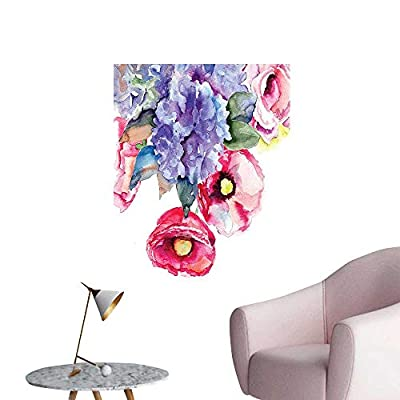 Wall Decals Lavender Flower Summer Petals Paintbrush Botany Branch sy Paint Environmental Protection Vinyl