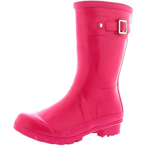 POLAR Womens Original Short Gloss Garden Winter Rain Waterproof Wellie Boots Dark Fushia