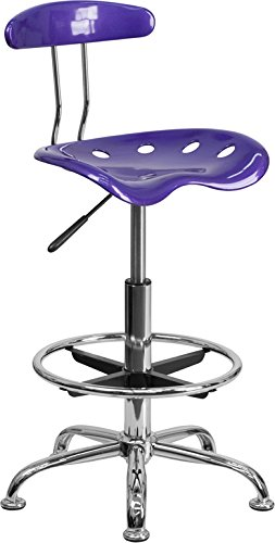 Vibrant Violet and Chrome Drafting Stool with Tractor Seat by