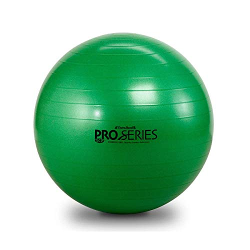 - TheraBand Pro Series Exercise and Stability Ball with 65 cm Diameter, Professional Slow Deflate & Burst Resistant Fitness Ball for Improved Posture, Balance, Yoga, Pilates, Core Stability, Green