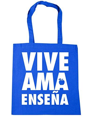 HippoWarehouse Vive Ama Enseña (Live Love Teach) Bolso de Playa Bolsa Compra Con Asas para gimnasio 42cm x 38cm 10 litros capacidad Azul Aciano
