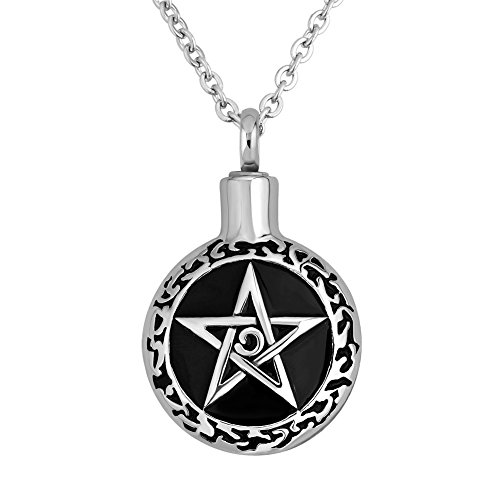 CLY Jewelry Urn Necklace For Ashes Star David Pentagram Pendant Necklace Circular Black Paint Carved Star Cremation Jewelry For Women Men Memorial Keepsake For Mom Dad Beloved Pet Grandpa Grandma Gift