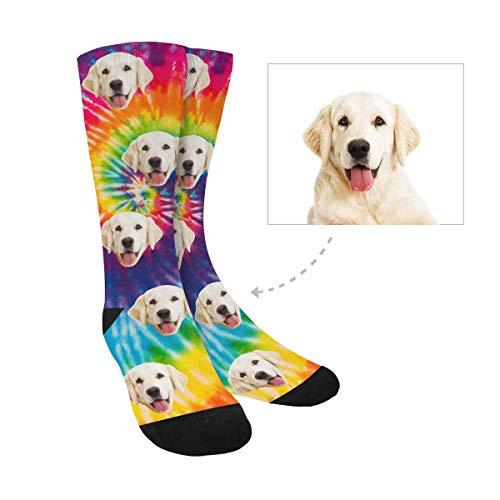 Custom Print Your Photo Dog Socks, Custom Tie Dye Crew Socks Unisex