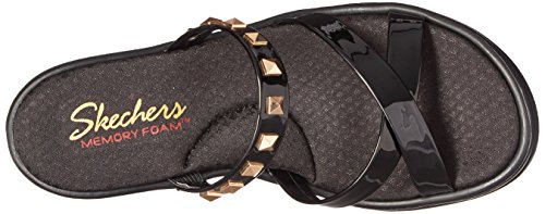 Skechers Cali Womens Rumblers Studette Wedge Sandal Black