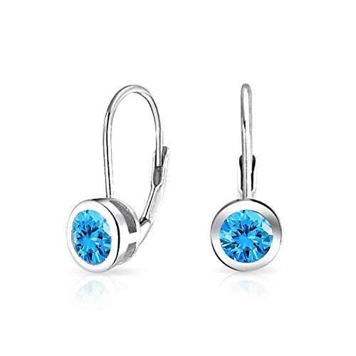 Bling Jewelry 925 Silver Simulated Blue Topaz CZ Bezel Set Drop - Drop Bezel Earrings Set