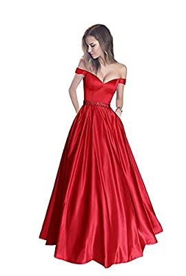 Prom Dress Long Bridesmaid Dresses Satin Beaded Homecoming Dresses Evening Dresses With Pocket 2017 For Women