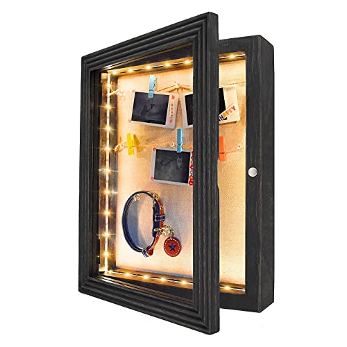 HSicily LED Shadow Box Frame 28x36cm Shadow Box Display Case with Lights Wood Memory Box Linen Back Glass Window for Keepsakes Memorabilia Awards Bouquet Military Photos Black