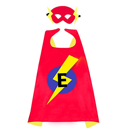 Gifts for 3-10 Year Old Boys, TOPTOY Kids Superhero Capes with 26 Letter Initial Cape Red & Blue Cape and Flash Lightning Mask for Boy Girl Birthday Present Toys for 3-10 Year Old Boys TTUSPF2