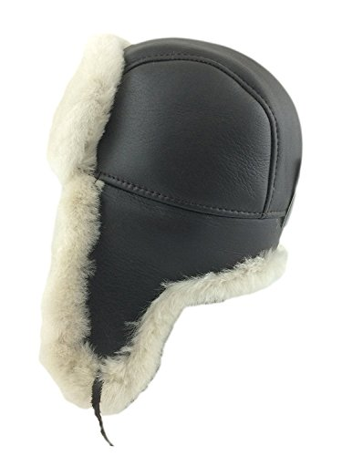 Zavelio Men's Shearling Sheepskin Aviator Russian Bomber Hat (Small, Brown Beige)