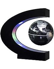 Newooe Floating Globe drijvende bol met led-verlichting, C-vorm, magnetische zweefbol, wereldkaart voor bureaudecoratie