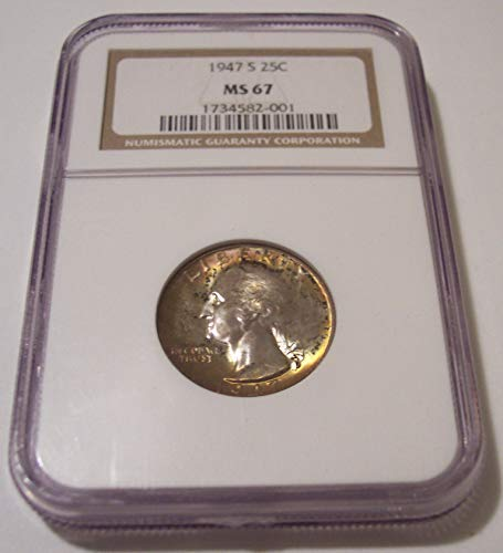 1947 S Washington Color Toning Quarter MS67 NGC