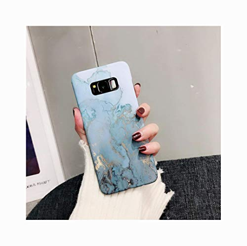 Mixneer Samsung Galaxy Fashion Pink Blue Marble Case Ocean Granite Stone Hard Phone Cases Creative Cute Waterproof Case Soft TPU Phone Shell Samsung Galaxy S9 Plus - (Blue Granite Shell)