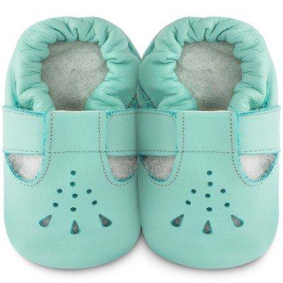 Shooshoos-Chaussons bébé cuir Bubblegum vert d'eau (0-6 mois) - Vert d'eau