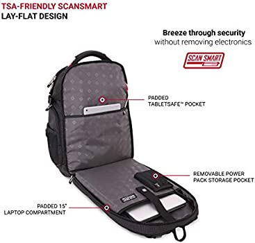 Abrasion-Resistant /& Travel-Friendly Laptop Backpack Exclusive Bundle with Lock SwissGear 5358 USB ScanSmart Laptop Backpack