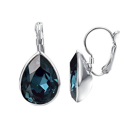 Yoursfs Blue Earrings, Bridal Dusty Blue Earrings, Blue Chandeliers Earrings, Dusty Blue Crystal Sparkly Earrings, Bridal Drop Earrings -