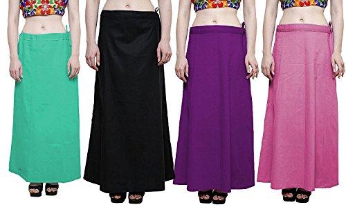 Nikita Women's Cotton Saree Underskirt (Pack of 4)