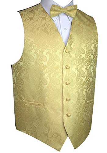 Brand Q Men's Tuxedo Vest and Bow-Tie Set-Gold Paisley-XL (Gold Vest And Bow Tie Set)