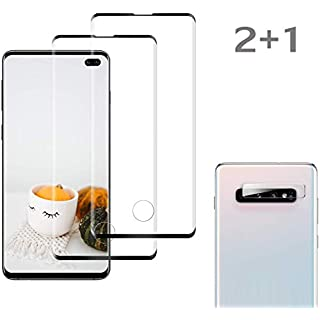 [2 Pack] Galaxy S10 Plus Screen Protector Tempered Glass Include a Camera Lens Protecto,Tempered Glass Screen Protector Suitable for Galaxy S10 Plus