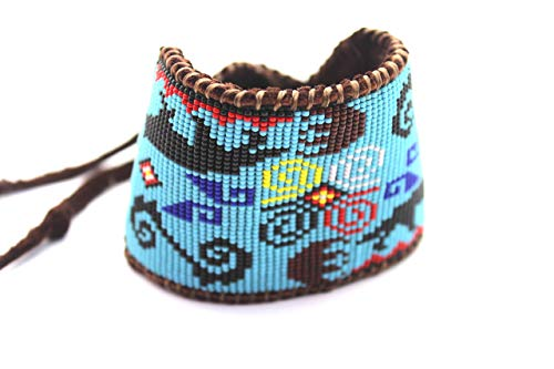 (Beaded Wolf and Bear Claw Medicine Wheel Bracelet on Chocolate Deer Hide for Men and Women)
