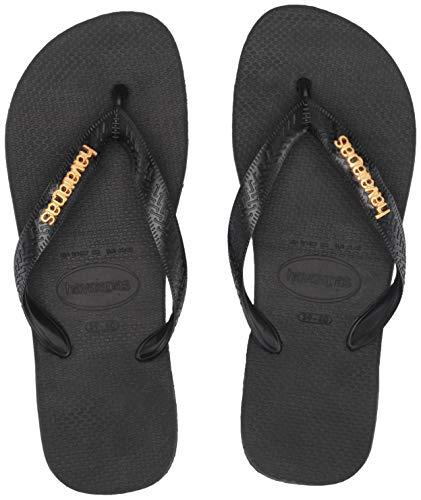 Top Womens Shoe Havaianas Metallic - Havaianas Women's Top Logo Metallic Sandal, black, 37/38 M BR (7/8 US)