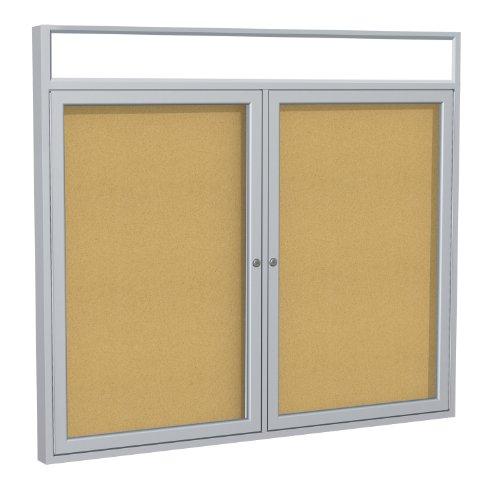 "Cheap 2-Door Aluminum Frame Enclosed Bulletin Board Frame: Satin Aluminum Indoor, Size: 36"" x 60"" free shipping"