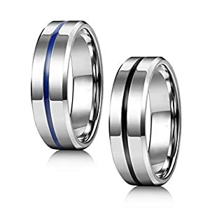 Jstyle 3Pcs Stainless Steel Fidget Band Rings for Women Mens Cool Spinner Rings 6/8MM Wide Wedding Pormise Band Ring Set