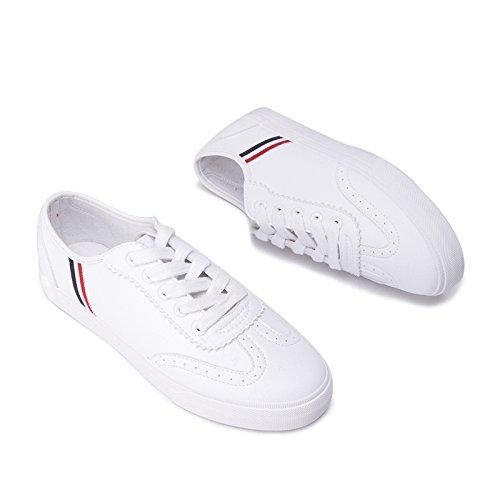 38 signora bianca nastro DHG Scarpe profonde scarpe rotonda carina bellezza punta a scarpe scarpe piatte primavera dolce bianche qRnTqUw