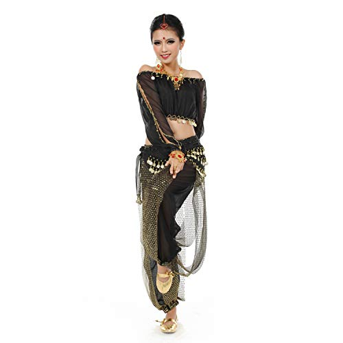 Maylong Womens Harem Pants Belly Dance Outfit Halloween Costume DW29 (Black) -