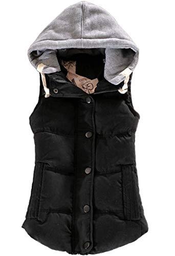 Femme Gilet lgant sans Manches  Capuchon Gilet Automne Hiver Rembourrage Chaud Vtements Gilet Matelass Fashion Casual Trendy Chic Vest Hipster Jacket Outerwear avec Zip Schwarz