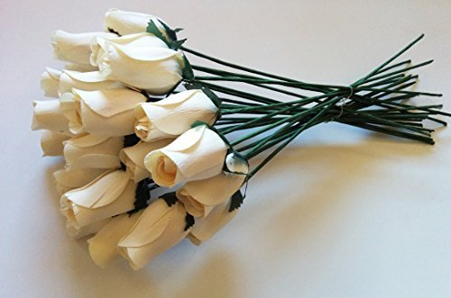 24 Beautiful Realistic Ivory White Wooden Roses by Aariel's Attic ()