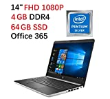 Flagship 2019 HP 14' FHD Laptop | Intel Quad-Core Pentium Silver N5000 Up to 2.7Ghz |4GB DDR4 | 64GB eMMC SSD | Office 365 Personal-1yr | Win 10 S| Support up to 256G Micro SD Extra Storage
