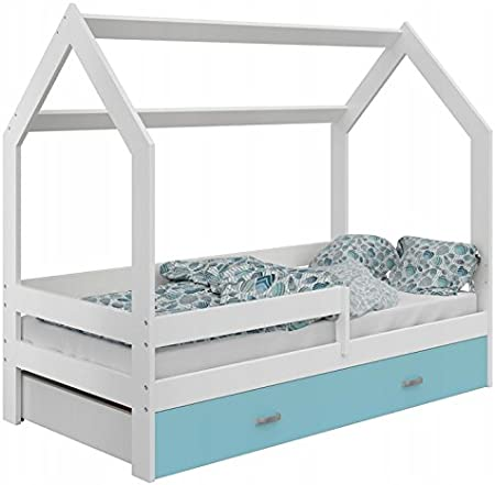 Baby Cama Casa – Cama infantil hogar cama en casa forma Madera con somier con cajón con colchón varios colores a elegir para montar en casa 80 x 160 ...