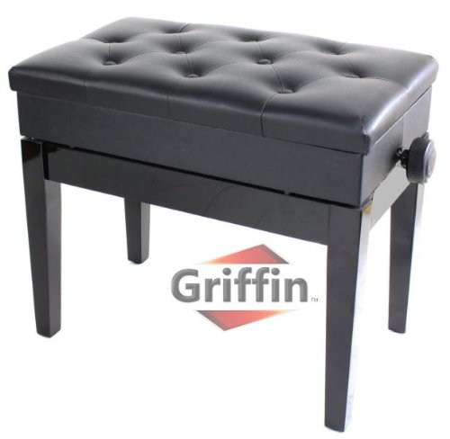 Ebony-Black-Leather-Piano-Bench-Wood-Adjustable-Keyboard-Seat-with-Storage-Griffin