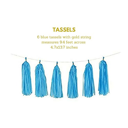 Large Product Image of Baby Shower Decorations for Boy kit, It's A Boy, Banner, Free eBook Assembly Guide, Tissue Paper, Fans, Honeycomb Paper Balls, Tassels, Blue, Gold Foil, Hanging, Party Supplies, Indoor/Outdoor
