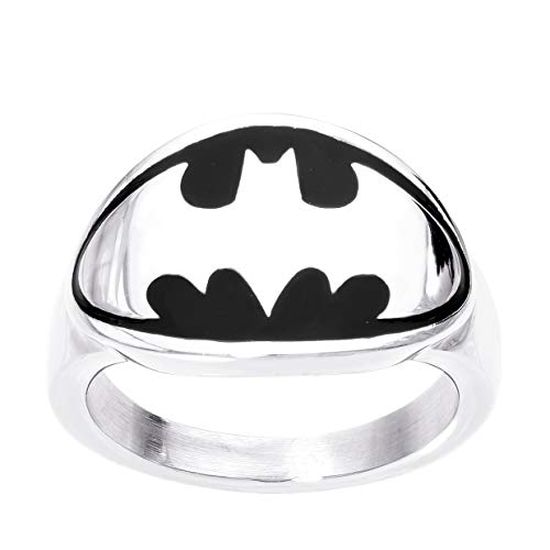 DC Comics Mens Stainless Steel Justice League Superhero Logo Ring Jewelry, Batman Black, Size 12 ()
