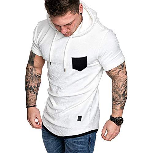 Mens Blouse Shirts,Sharemen Fashion Men's Slim Fit Casual Pattern Plus Size Short Sleeve Hoodie Top Blouse(White,3XL)