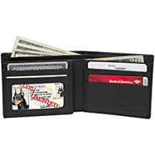 Access Denied Mens Genuine Leather RFID Blocking Secure Wallet 10 Card Slots ID Theft Protection (Smooth Black)