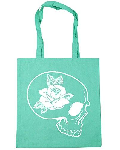 HippoWarehouse skull and rose Tote Shopping Gym Beach Bag 42cm x38cm, 10 litres Mint
