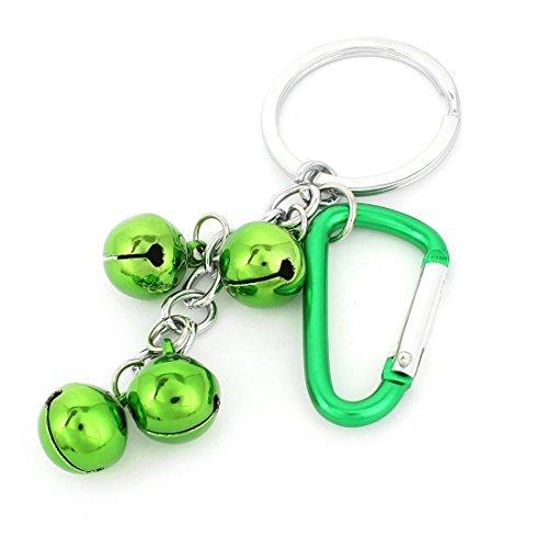 Grünes Metall silbrig 4 Glocken Anhänger Karabiner Schlüsselanhänger Tasche Ornament