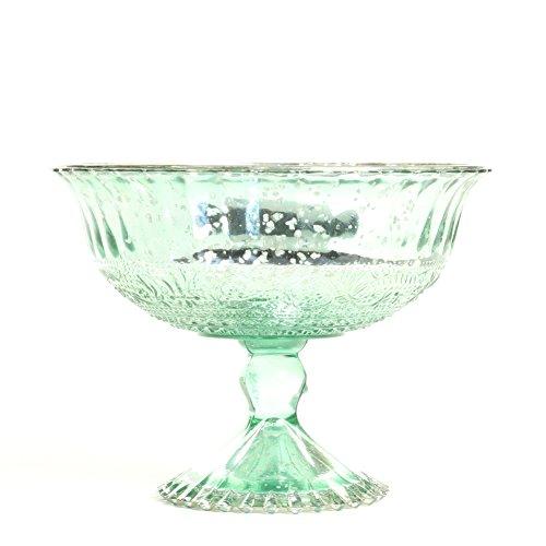 Glass Compote Green (Koyal Wholesale Compote Bowl Centerpiece Mercury Glass Antique Pedestal Vase, Floral Centerpiece, Wedding, Bridal Shower, Home Décor (7