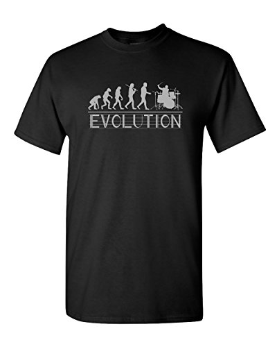 (Drummer Evolution Drum Drumset Percussion Music Musician Rock Band Marching Jazz Pop Tee Funny Humor Pun Graphic Adult Mens T-Shirt (X-Large, Black))