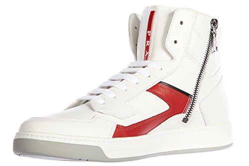 Prada chaussures baskets sneakers hautes homme en cuir veau plume blanc