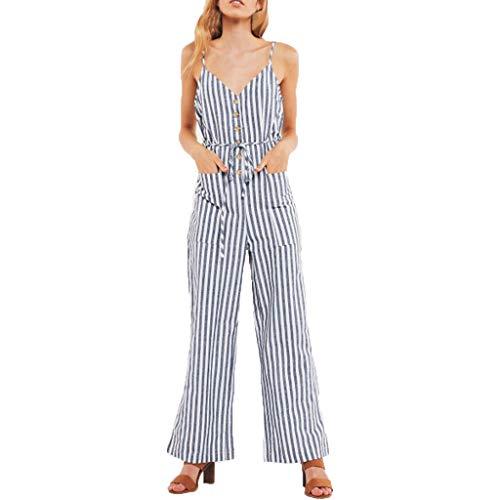 - KINGOL Womens Striped Sleeveless Camisole Belt Pocket Wide Leg Pants Trousers Jumpsuit Blue